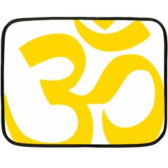 Hindu Om Symbol (yellow) Fleece Blanket (mini) by abbeyz71