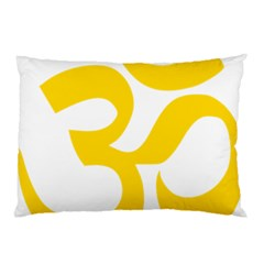 Hindu Om Symbol (yellow) Pillow Case (two Sides) by abbeyz71