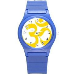 Hindu Om Symbol (yellow) Round Plastic Sport Watch (s) by abbeyz71