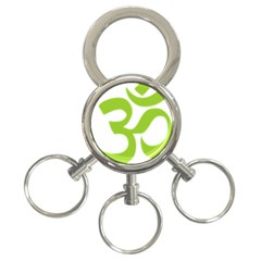 Hindu Om Symbol (lime Green) 3 Ring Key Chains by abbeyz71