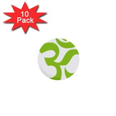 Hindu Om Symbol (lime Green) 1  Mini Buttons (10 Pack)  by abbeyz71