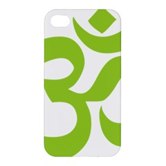 Hindu Om Symbol (lime Green) Apple Iphone 4/4s Premium Hardshell Case by abbeyz71