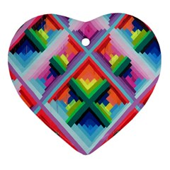 Rainbow Chem Trails Heart Ornament (two Sides) by Nexatart