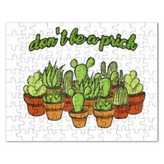Cactus   Dont Be A Prick Rectangular Jigsaw Puzzl by Valentinaart