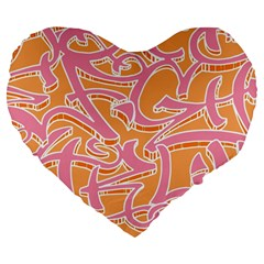 Abc Graffiti Large 19  Premium Flano Heart Shape Cushions by Nexatart