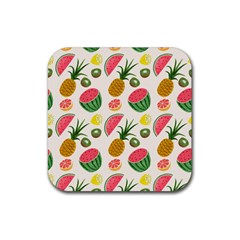 Fruits Pattern Rubber Coaster (square)  by Nexatart