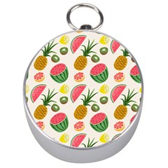 Fruits Pattern Silver Compasses by Nexatart