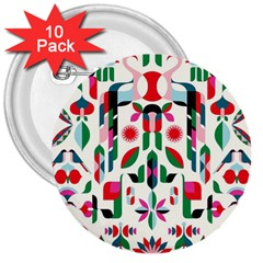 Abstract Peacock 3  Buttons (10 Pack)  by Nexatart