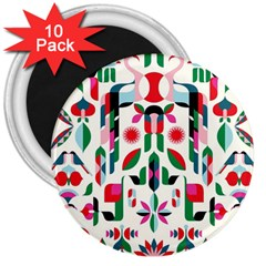 Abstract Peacock 3  Magnets (10 Pack)