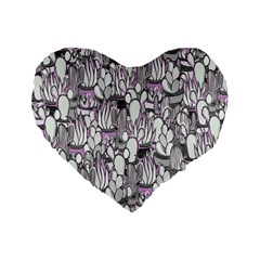 Cactus Standard 16  Premium Flano Heart Shape Cushions by Valentinaart
