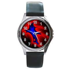 Space Red Blue Black Line Light Round Metal Watch by Mariart