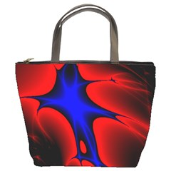 Space Red Blue Black Line Light Bucket Bags by Mariart