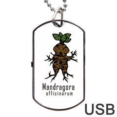 Mandrake Plant Dog Tag Usb Flash (two Sides) by Valentinaart
