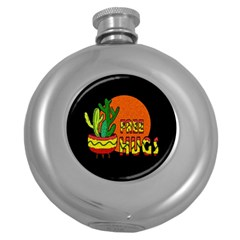 Cactus   Free Hugs Round Hip Flask (5 Oz) by Valentinaart