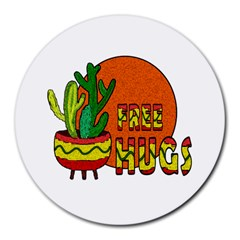 Cactus   Free Hugs Round Mousepads by Valentinaart