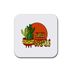 Cactus   Free Hugs Rubber Square Coaster (4 Pack)  by Valentinaart