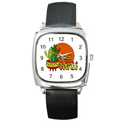 Cactus   Free Hugs Square Metal Watch