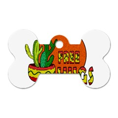 Cactus   Free Hugs Dog Tag Bone (two Sides) by Valentinaart