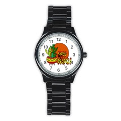 Cactus   Free Hugs Stainless Steel Round Watch