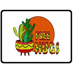 Cactus   Free Hugs Double Sided Fleece Blanket (large)  by Valentinaart