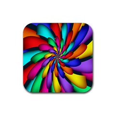 Star Flower Color Rainbow Rubber Coaster (square)  by Mariart