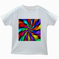 Star Flower Color Rainbow Kids White T Shirts