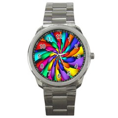 Star Flower Color Rainbow Sport Metal Watch by Mariart