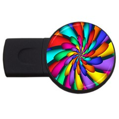 Star Flower Color Rainbow Usb Flash Drive Round (4 Gb) by Mariart
