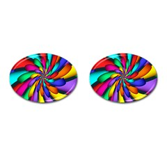 Star Flower Color Rainbow Cufflinks (oval) by Mariart