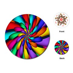 Star Flower Color Rainbow Playing Cards (round)  by Mariart