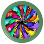 Star Flower Color Rainbow Color Wall Clocks Front
