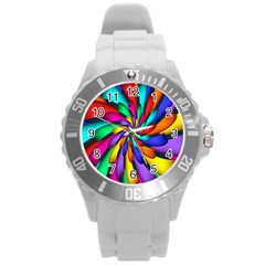 Star Flower Color Rainbow Round Plastic Sport Watch (l) by Mariart