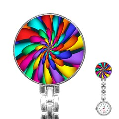 Star Flower Color Rainbow Stainless Steel Nurses Watch by Mariart