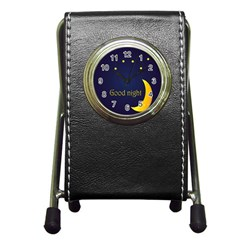 Star Moon Good Night Blue Sky Yellow Light Pen Holder Desk Clocks by Mariart