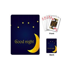 Star Moon Good Night Blue Sky Yellow Light Playing Cards (mini)  by Mariart