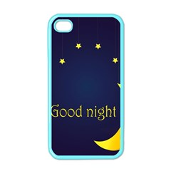 Star Moon Good Night Blue Sky Yellow Light Apple Iphone 4 Case (color) by Mariart