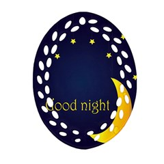 Star Moon Good Night Blue Sky Yellow Light Oval Filigree Ornament (two Sides) by Mariart