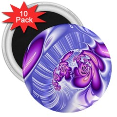 Space Stone Purple Silver Wave Chevron 3  Magnets (10 Pack)