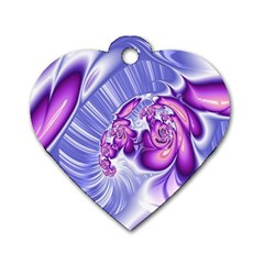 Space Stone Purple Silver Wave Chevron Dog Tag Heart (two Sides) by Mariart