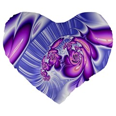 Space Stone Purple Silver Wave Chevron Large 19  Premium Heart Shape Cushions by Mariart