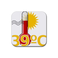 Thermometer Themperature Hot Sun Rubber Square Coaster (4 Pack)  by Mariart