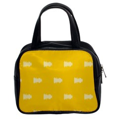 Waveform Disco Wahlin Retina White Yellow Classic Handbags (2 Sides) by Mariart