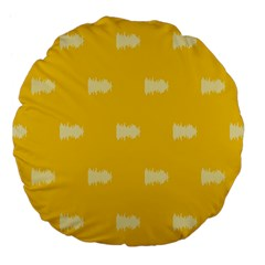 Waveform Disco Wahlin Retina White Yellow Large 18  Premium Flano Round Cushions by Mariart