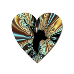 Silver Gold Hole Black Space Heart Magnet by Mariart