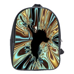 Silver Gold Hole Black Space School Bags(large)