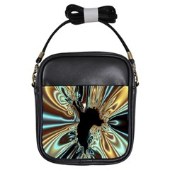 Silver Gold Hole Black Space Girls Sling Bags by Mariart