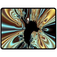 Silver Gold Hole Black Space Fleece Blanket (large)  by Mariart