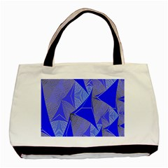 Wave Chevron Plaid Circle Polka Line Light Blue Triangle Basic Tote Bag (two Sides) by Mariart