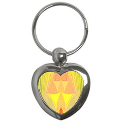 Wave Chevron Plaid Circle Polka Line Light Yellow Red Blue Triangle Key Chains (heart)  by Mariart