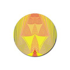 Wave Chevron Plaid Circle Polka Line Light Yellow Red Blue Triangle Rubber Round Coaster (4 Pack)  by Mariart